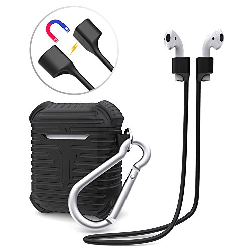 AOPETIO Airpod Case & Airpod 2 Case, EVA Waterproof Cover Compatible with Airpods Charging Case (2 Pairs of Free Ear Hooks Included)