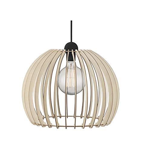 EVEVO L0007 - Lámpara de Techo Colgante de Madera, diseño Moderno, 109 Colores de Barniz Natural