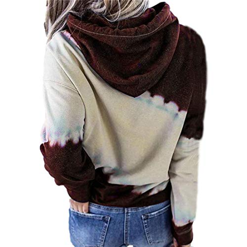 ZGRNPA Womens Lightweight Tops Tie-Dye Color Block Drawstring Hoodies with Kangaroo Pockets Long Sleeve Sweatshirt Tie Dye Print Pullover Oversized Casual Hoodie Blouse Drawstring Hooded Tops