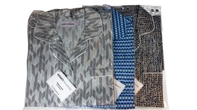 Home Care Line Dignity pajamas 3 Pack Mens Cotton Short Sleeve Open Back Hospice Pajamas Sz S-M