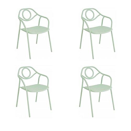 EMU Oferta 4sillones Silla Zahir Verde Menta de Interior y Exterior Bar Restaurante