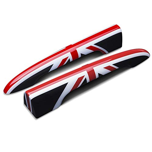 Manija Puerta Equipaje Coche Exterior Pegatina Decorativa Cubierta Protectora Manija Maletero para Mini para Cooper S JCW F54 Accesorios Coche (Color : Black Red Flag)