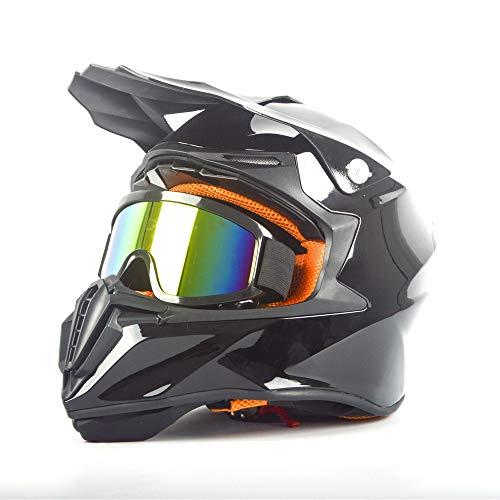 MOTUO - Casco de motocross para niños BMX Downhill con gafas de cross, para quad infantil Off Road Enduro Sport, negro, M