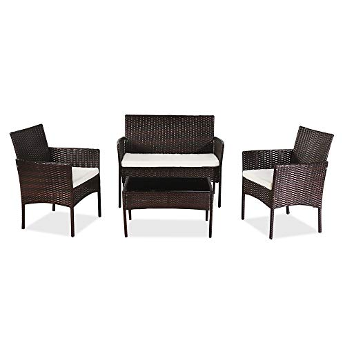 YSINOBEAR Outdoor Living Room Balcony Rattan Furniture Four-Piece-Brown