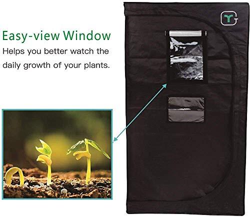 2020 New Grow Box 120cm x 60cm x 150cm Tende per Piante/Tenda da Coltivazione Idroponica/Grow Room Indoor Stabili Aste in Acciaio Serra da Interno per Piante, Frutta, Fiori e Verdure Nero