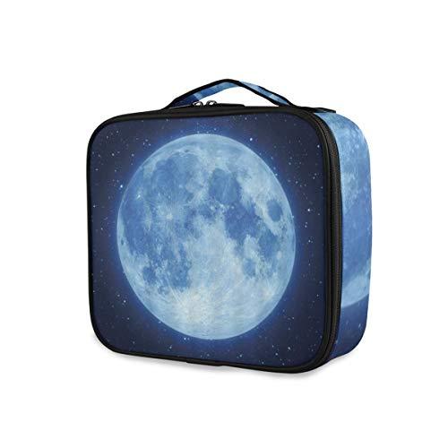 SUGARHE Increíble Luna Hermosa Fantasía Cielo Estrellado Azul Brillante Azul Marino Negro,Neceser...