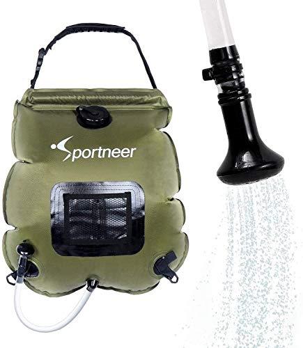Sportneer Campingdusche, Solardusche Duschsack 20L mit Abnehmbarem Schlauch und Switchable Duschkopf für Gartendusche, Pooldusche, Duschen Beutel Tauchpumpe Wandern im Freien