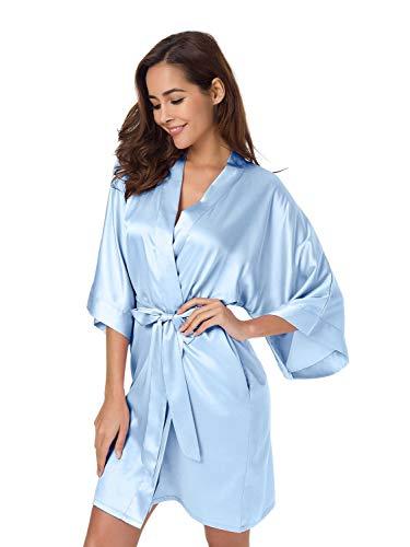 SIORO Bademantel für Damen, Seiden-Satin, Kimono, Brautjungfer, Bademantel für Hochzeit, Party, kurz Gr. 42, hellblau
