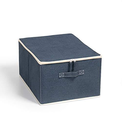 Aufbewahrungsbeutel mit Reißverschluss, faltbar, Kleidungsaufbewahrungstasche for Steppdecke, Betten, Bettwäsche Decke fahrbar, 2 Stück, Mehrfarben- (Color : Navy)