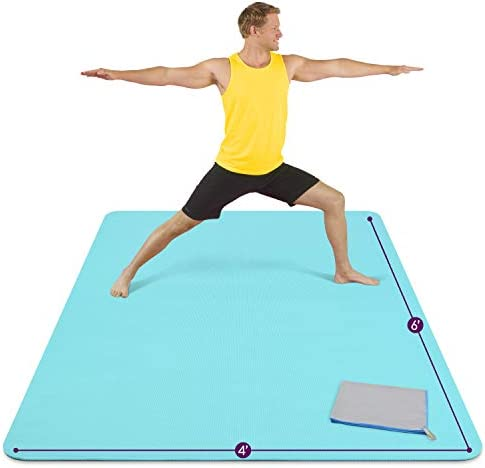 Large Yoga Mat 6 x4 x8mm Extra Thick Durable Eco Friendly Non Slip Odorless Barefoot Exercise product image