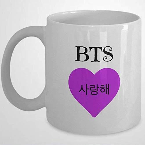 BTS Merchandise - Taza de café con texto en inglés 'I Heart BTS' para festival de café o té de cerámica de 325 ml