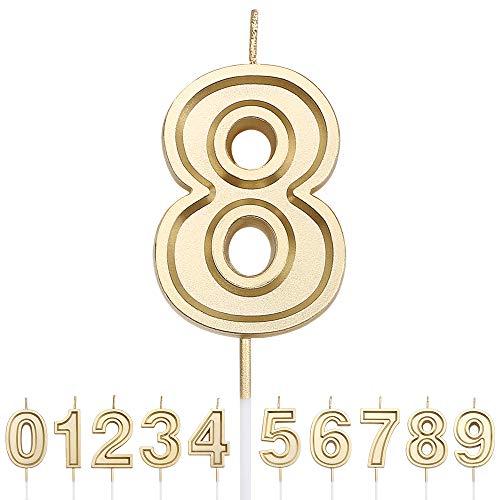 URAQT Candele di Compleanno Numbero, Candele di Compleanno Oro Glitter, Adatto A Feste di Compleanno, Feste di Anniversario di Matrimonio, Serate di Laurea, 8