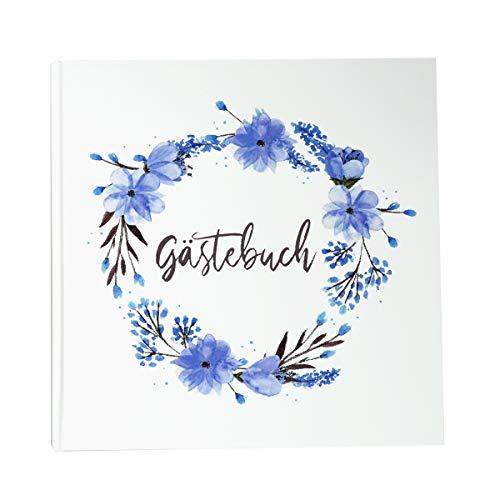 Gästebuch Blumenkranz Blau 21 x 21 cm, 144 Seiten weißes Papier