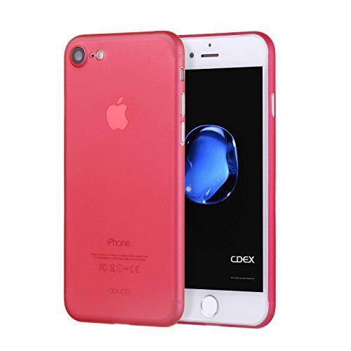 doupi UltraSlim Hülle für iPhone SE (2020) / iPhone 8/7 (4,7 Zoll), Ultra Dünn Fein Matt Oberfläche Handyhülle Cover Bumper Schutz Schale Hard Hülle Design Schutzhülle, rot