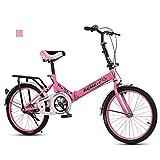 B-D Bicicletas Plegables De 20 Pulgadas Bicicleta Plegable Urbana Ligera para Mujer, Marco De Acero De Alto Carbono, Micro Bike Unisex para Estudiantes Y Oficinistas, 6 Opciones De Color,Rosado