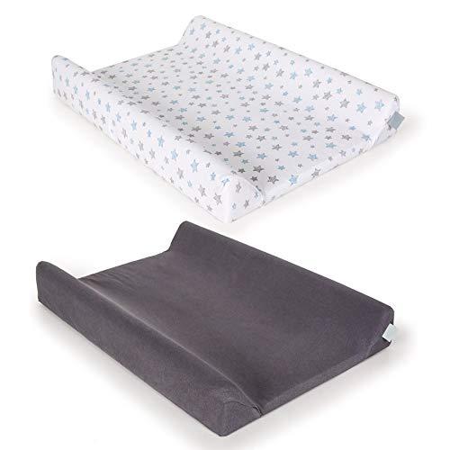 2 fundas de algodón 100% para cambiador de pañales de bebé 80 x 50 y 70 x 50 cm, con bordes elevados.