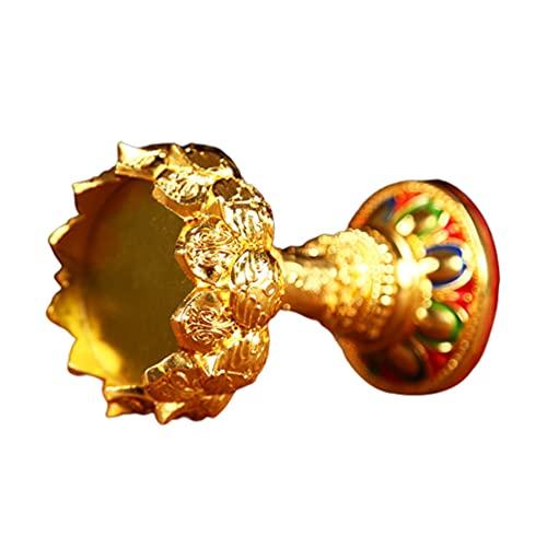 PATKAW Soporte de Flor de Loto Candelita Votiva Tibetana Budista Taza de Oferta de Agua Titular de La Lámpara de Aceite Tibetano Suministros Budistas para La Meditación del Buda del