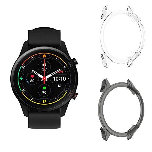 [2 Pezzi] Fitudoos Compatibile con Xiaomi Mi Watch Custodia Protettiva, Case in Morbido Silicone di Gel AntiGraffio in TPU Ultra [Slim Thin] Protettiva.(Trasparente+Nero)
