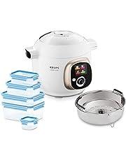 Krups CZ7001.GO Cook4Me - Robot de cocina (incluye 5 recipientes Emsa Clip&Close y accesorio para cocinar al vapor, capacidad de 6 litros, 50 recetas preinstaladas, 1200 W), color blanco y gris