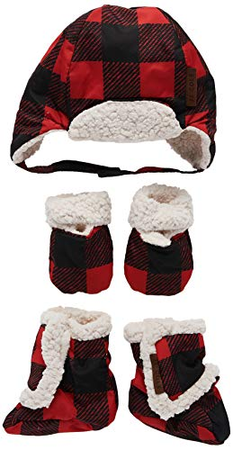 JJ Cole Bomber Baby Hat Set, Red Buffalo Check