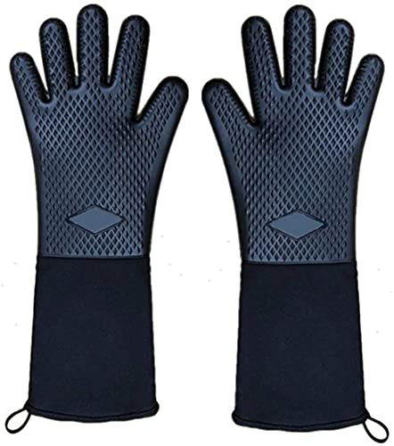Rados Guantes de horno hasta 400 °C, de silicona, extremadamente resistentes al calor, guantes para barbacoa, guantes extra largos (negro-c)