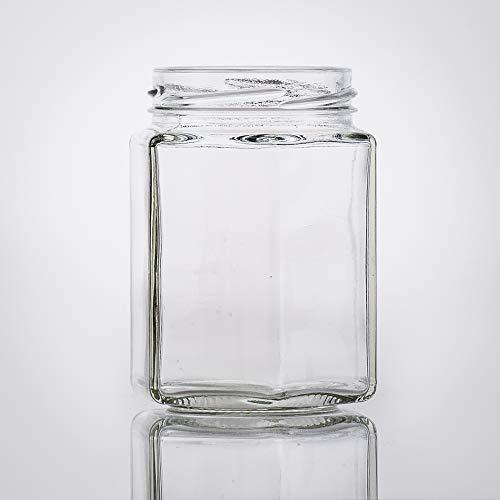 Flaschenbauer- 15x Sechskantgläser 195ml inkl. eines goldenen Twist-Off Verschluss als Einmachglas, zur Aufbewahrung von Gewürzen oder als kleines Honigglas.