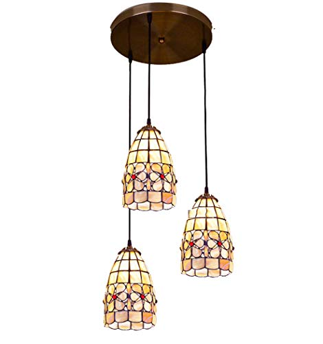 Iluminación de candelabros de 1/3 luz Tiffany Style Shell Stained Glass Shade...