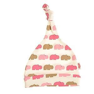 Gorro de bebé – Beanie Knott Knot Hat para recién nacidos niños niñas Unisex Color Elección 100% Algodón 0-6 Meses (Rosa Hippos)