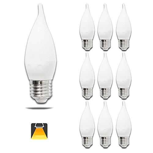 Pack de 10 Bombillas LED CL35 vela, 4W, casquillo gordo E27, 300 lumen, luz calida 3000K