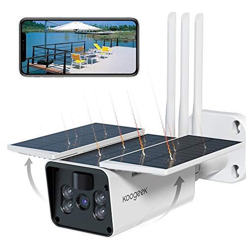 Koogeek Camara Vigilancia WiFi Exterior IP67,Camara de Vigilancia Exterior 1080P,Ángulo de Visión Amplio de 120°,Sin Cable,Detección de Movimiento,Alarma en Tiempo Real,Camara de Vigilancia Exterior