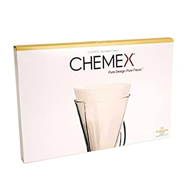 Chemex FP-2 Coffee Filters with 100-Chemex Bonded Unfolded 13-Filter Paper Half-Moon Circles