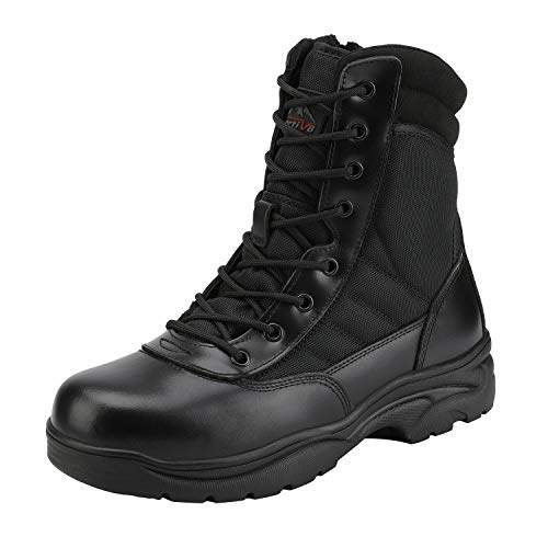 NORTIV 8 Men's Military Tactical Work Boots Side Zipper Leather Outdoor Motorcycle Combat Boots Black Size 6.5 M US Trooper