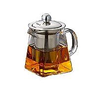 yueming teiere in vetro con infusore, 550 ml in teiera in vetro borosilicato di forma quadrata con filtri per il tè per tè sfuso, infusore in acciaio inossidabile rimovibile 304 (550ml)