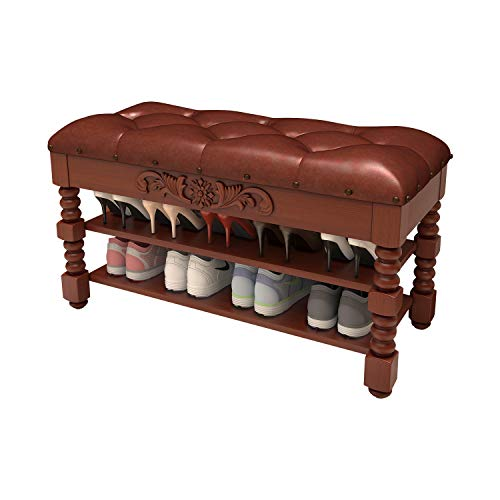 Shoe Bench Solid Wood Shoe Rack Bench Rustic Storage Bench 2 Layer with Storage for Entryway Bathroom Living Corridor 393x135x165