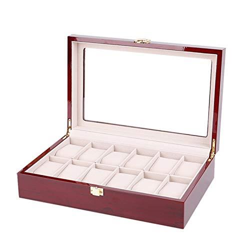 Keliour Caja de almacenamiento de reloj con pintura en aerosol Caja de reloj de pintura de piano Caja de reloj de piel sintética (color: rojo, tamaño: talla única)