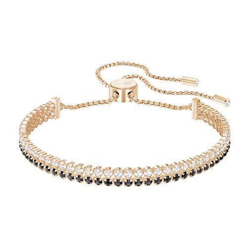 Swarovski Subtle Armband für Frauen, schwarzes Kristall, rotgold glänzendes Finish