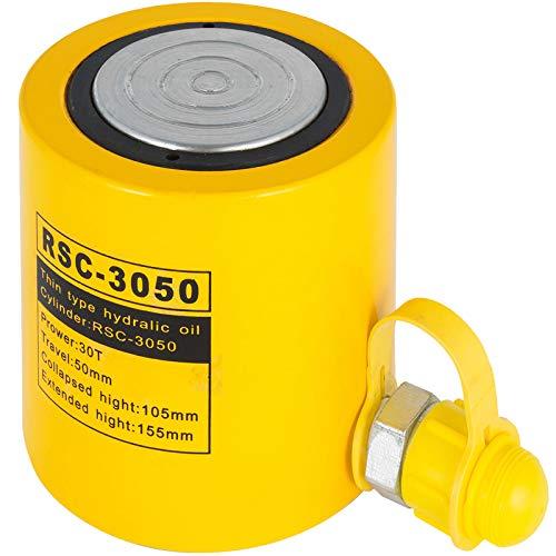 VEVOR Hydraulikzylinderheber Kapazität 30T Hydraulikzylinder 50 mm Hub einfachwirkender tragbar gelb, hydraulische Wagenheber Hohlkolbenheber Hydraulikflasche 6,6 kg für Riggers-Hersteller