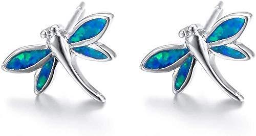 JJYGONG Pendientes Hechos a Mano Opal Stud Pendientes Artificial Piedras Preciosas Dragonfly Forma Pendientes Platino para Niña Exquisito/Azul