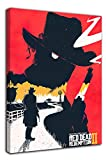 ARYAGO Red Dead Redemption II Lienzo impreso de madera de 60,96 x 91,44 cm, póster enmarcado para dormitorio de niños y niñas, estirado y listo para colgar