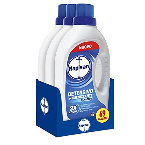 Napisan Detergente líquido para lavadora, detergente higienizante, clásico, 69 lavados, 3 paquetes de 23 lavados