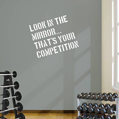 Blick in den Spiegel Gym Wand Aufkleber Zitat Fitness Workout Boxen 5Farbe Optionen, weiß