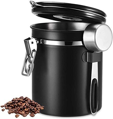 Dyna-Living Edelstahl Kaffeedose Luftdicht, Kaffeebehälter Vorratdose Vakuum Dose für Kaffeebohnen Pulver Tee Nüsse Kakao Mehl 1500ml mit Löffel