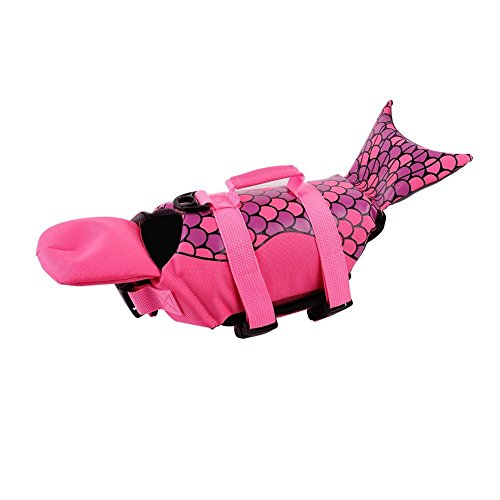 PETCEE Medium Dog Life Jacket for Swimming Mermaid Dog Life Vest with Rescue Handle