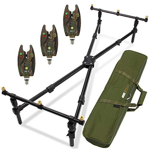 G8DS® Set Rod Pod Rutenhalter + luxuriöser Tragetasche inklusive 3 Bissanzeiger mit Lautstärkeregler, Camo, Karpfen, Angeln