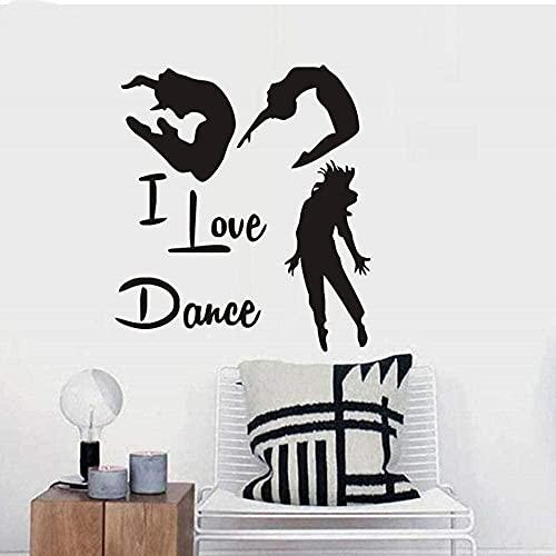 Moderno I Love Dance vinilo extraíble pared calcomanía gimnasia danza decoración del hogar arte pegatinas de pared para sala de estar póster mural