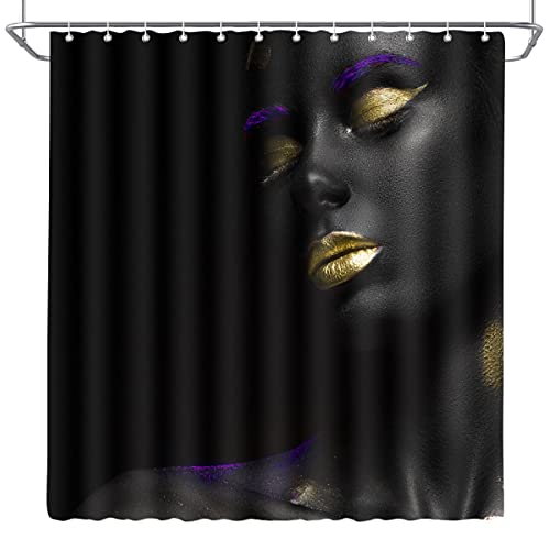 DePhoto African American Woman Shower Curtain, Golden Lips, Purple Eyeshadow Sexy Afro,Polyester Fabric Bathroom Decoration and Hooks, 72x72 Inch