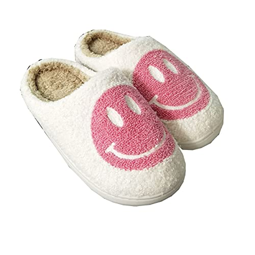 PNDGMCSY Smiley Face Slippers - Retro Smiley Face Soft Plush Comfy Warm Slip-on Slippers - Open Toe Fluffy Cute Smiley Face Slippers (37-38,B)