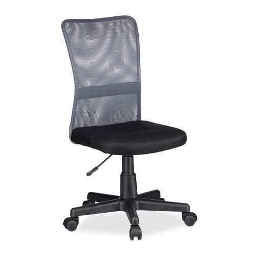 Relaxdays Chaise de bureau hauteur réglable pivotant pour enfant charge max 90 kg HxLxP Gris, 102 x 55 x 55 cm