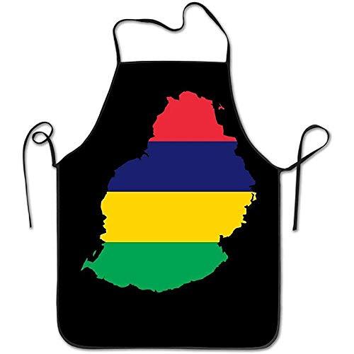Mesllings Clipart - Mauritius Vlag Kaart Vrouwen Mannen Grappige Chef Keuken Koken en Bakken Bib Schort Bakkerij Manicure Store met Verstelbare hals