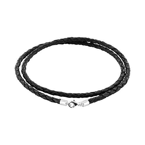 AURORIS Geflochtene Echtleder-Kette schwarz Dicke 3mm mit Karabinerverschluss aus 925 Sterling-Silber Länge: 50cm
